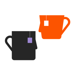 Illustration of two mugs that resemble faces to represent relationships